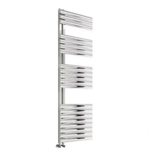 Reina Scalo Vertical Designer Heated Towel Rail - 826mm x 500mm - Brushed